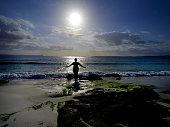 Woman relaxing at Hyams Beach