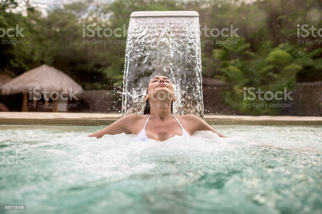 Woman relaxing at the spa stock photo