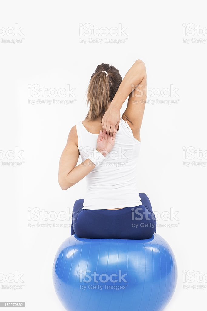 Woman relaxing between exercises. royalty-free stock photo
