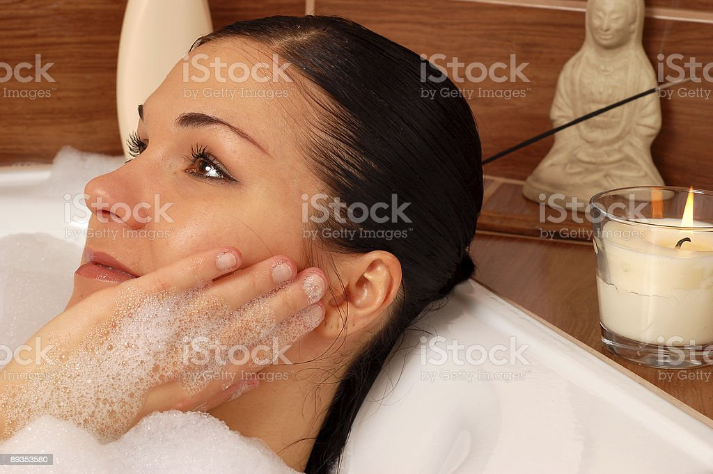 woman relaxing in bath royalty-free stock photo