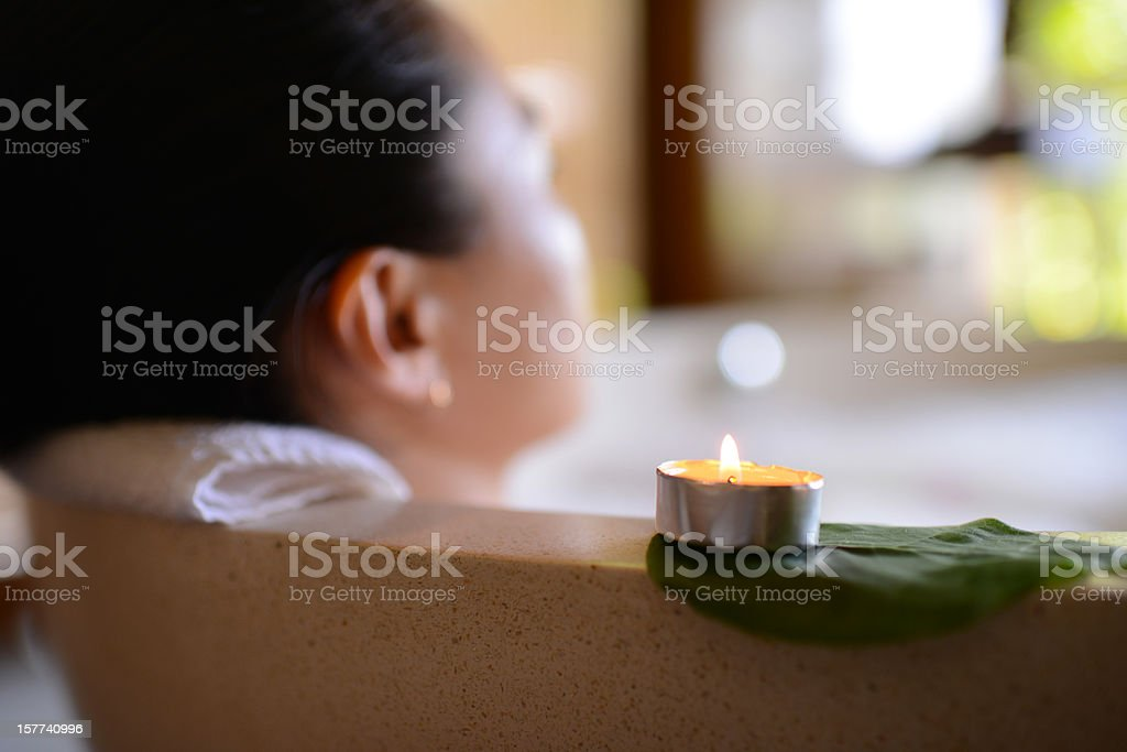 Woman Relaxing In Jacuzzi royalty-free stock photo