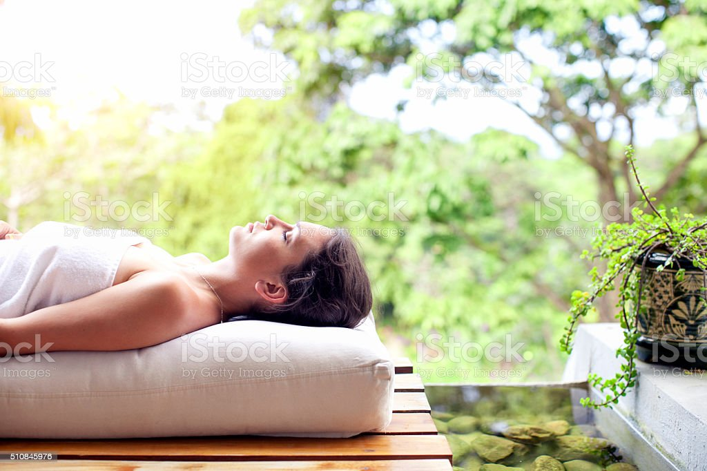 Woman relaxing in spa stock photo
