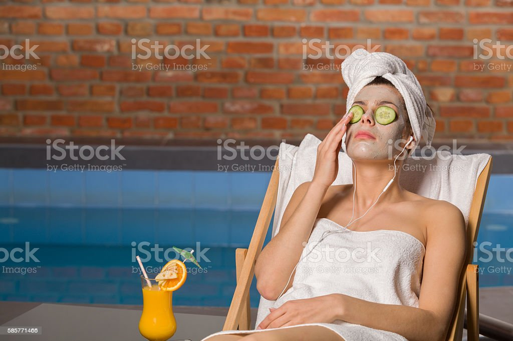 Woman relaxing in the spa. stock photo