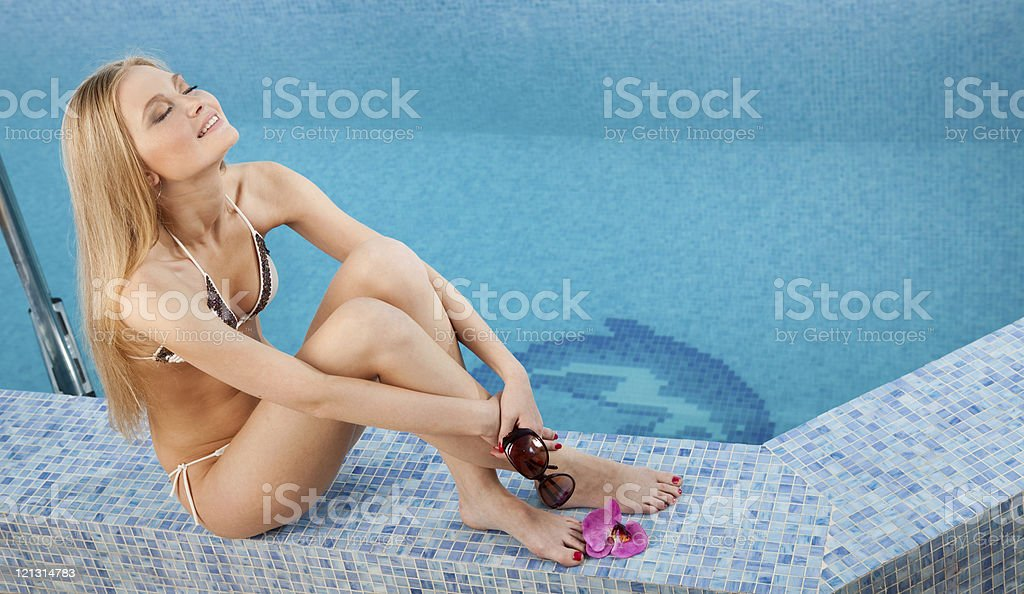 Woman relaxing in the SPA swimming pool. royalty-free stock photo