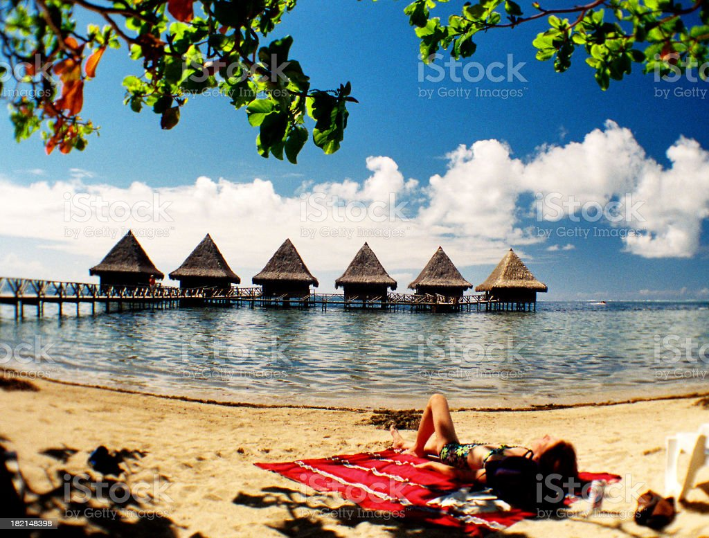 Woman relaxing on Tropical beach royalty-free stock photo