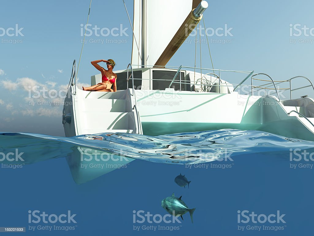 woman relaxing on yacht stock photo