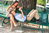 woman relaxing outdoors with his boyfriend
