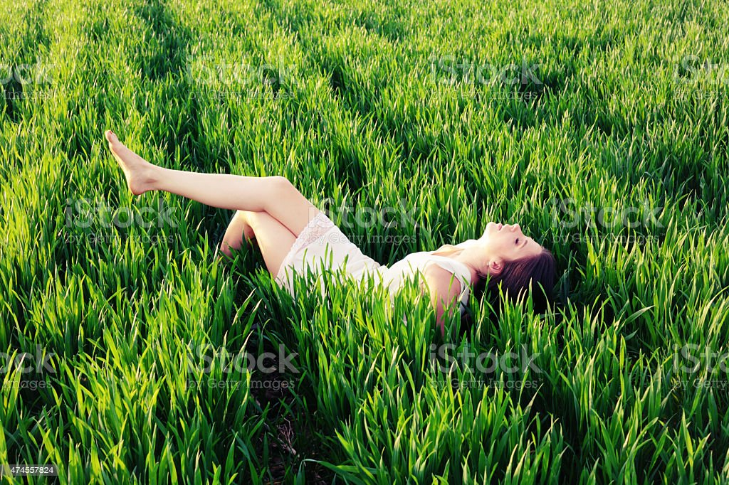 Woman relaxing stock photo