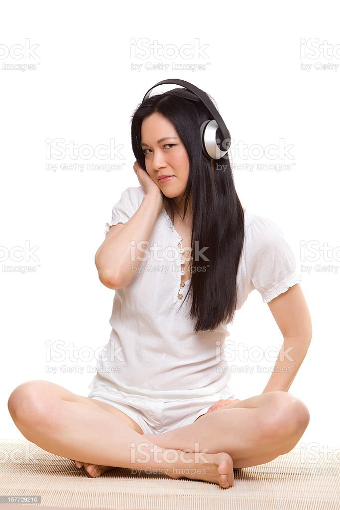 Woman relaxing with headphones stock photo