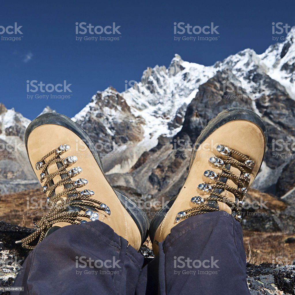 Woman resting in Himalayas royalty-free stock photo