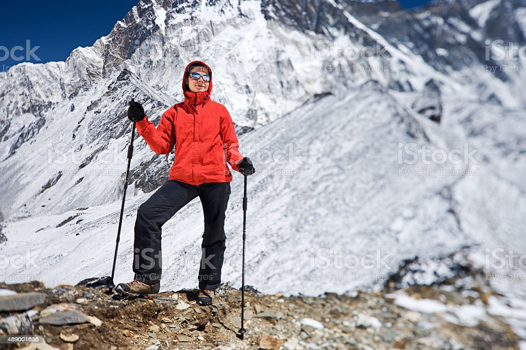 Woman resting in Mount Everest National Park, Nepal stock photo
