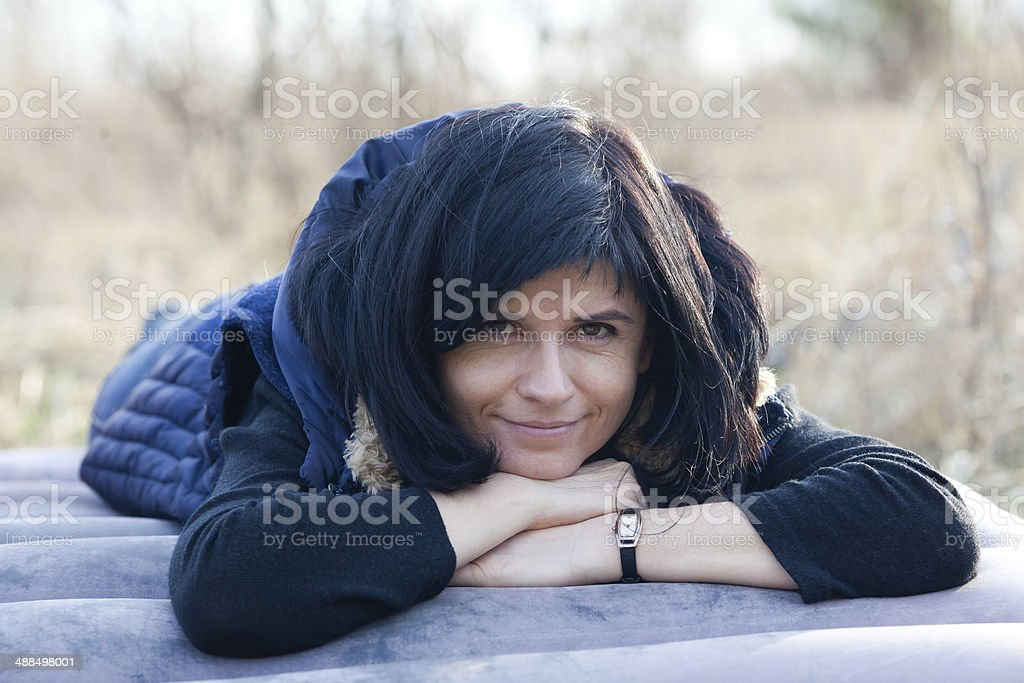 Woman resting stock photo