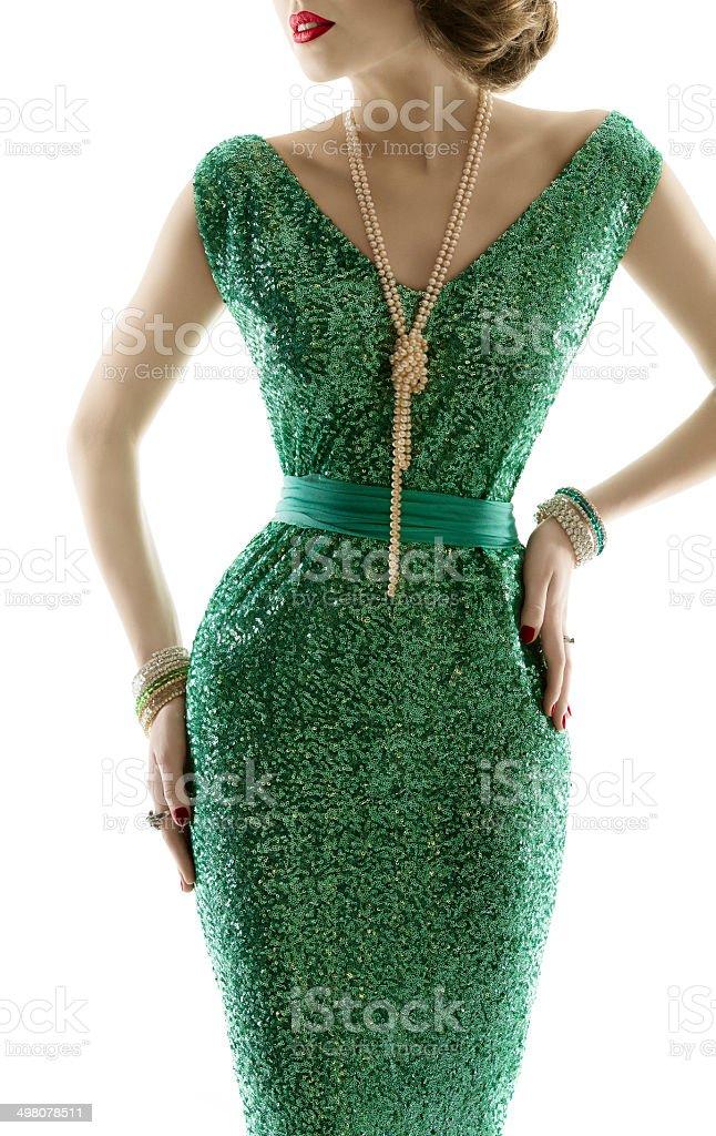 Woman retro fashion dress, sparkle sequin gown, elegant style stock photo
