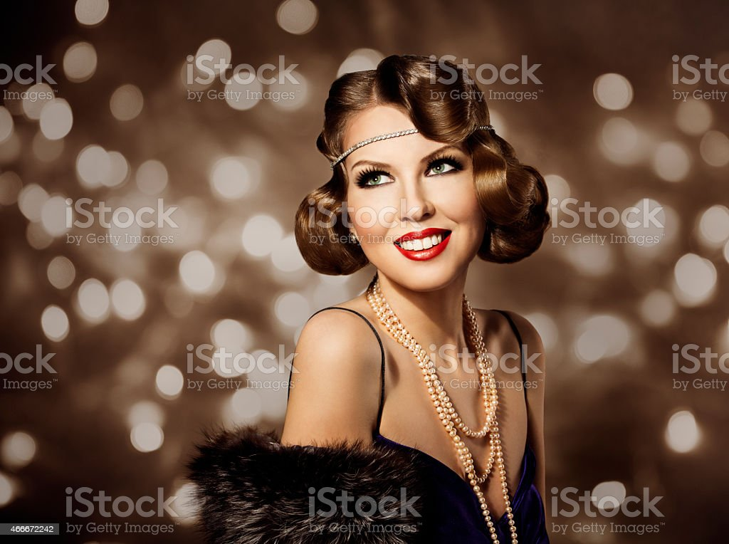 Woman Retro Hairstyle Portrait, Elegant Lady Make Up, Wave Hairstyle stock photo
