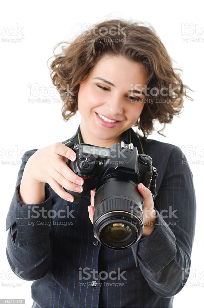 Woman reviewing photo, isolated on white stock photo