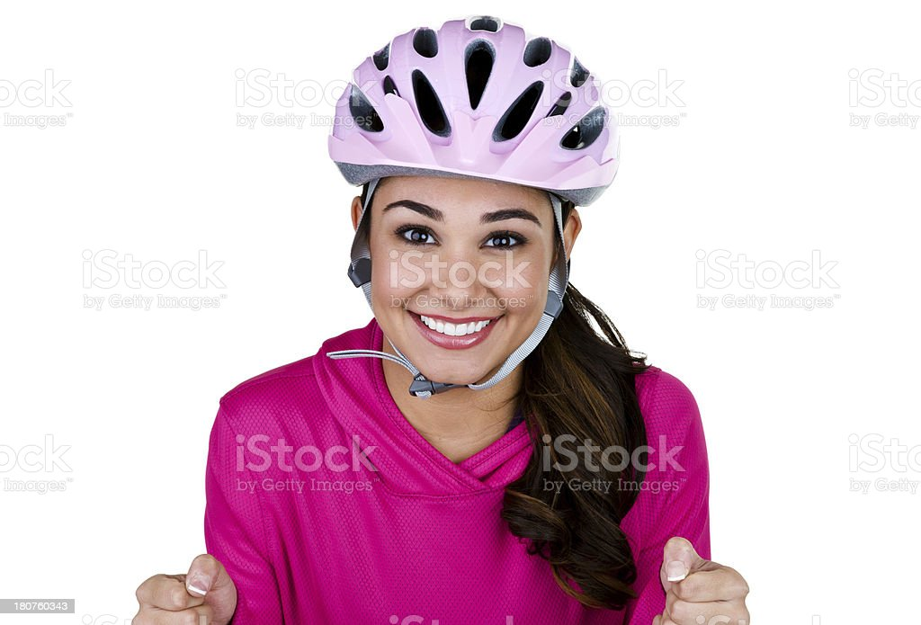 Woman riding a bicycle royalty-free stock photo