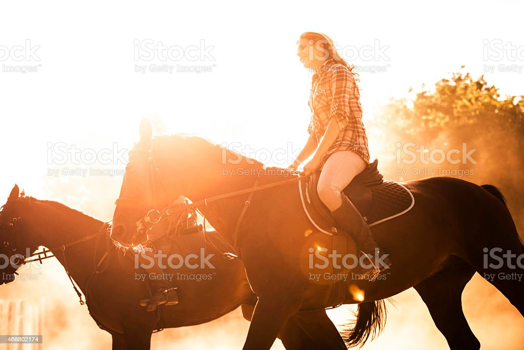 Woman riding horseback riding at sunset. stock photo