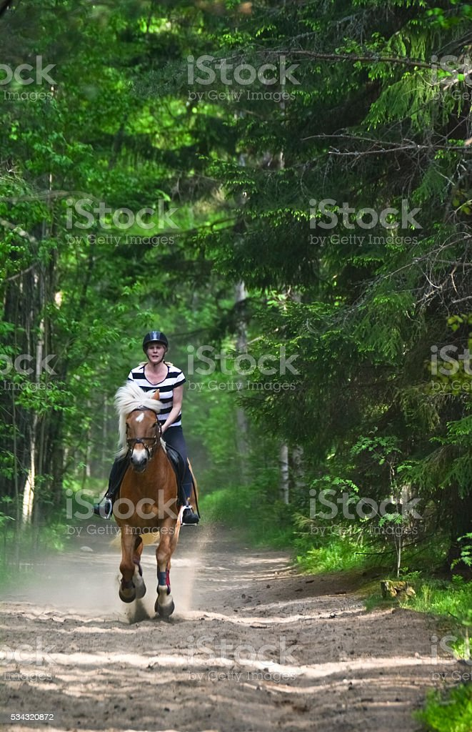 Woman riding in forest stock photo