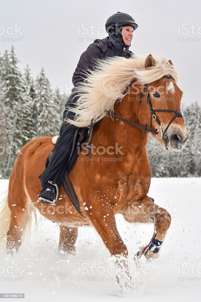 Woman riding in winter stock photo