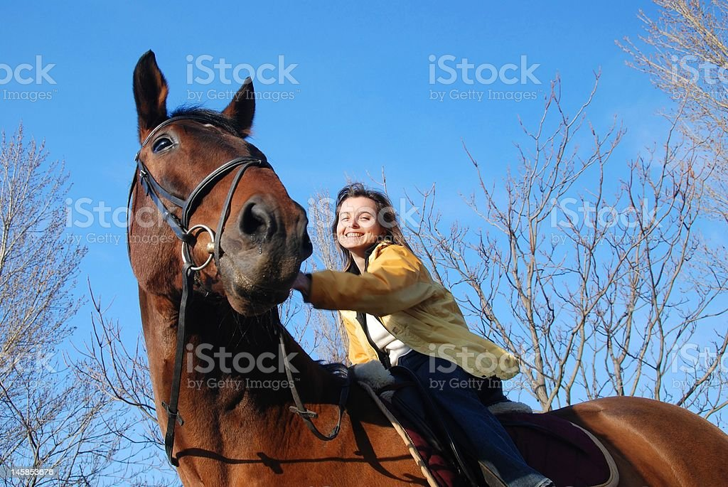 Woman riding on big browm horse royalty-free stock photo