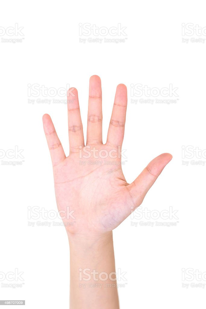 Woman right hand showing the five fingers isolated. stock photo