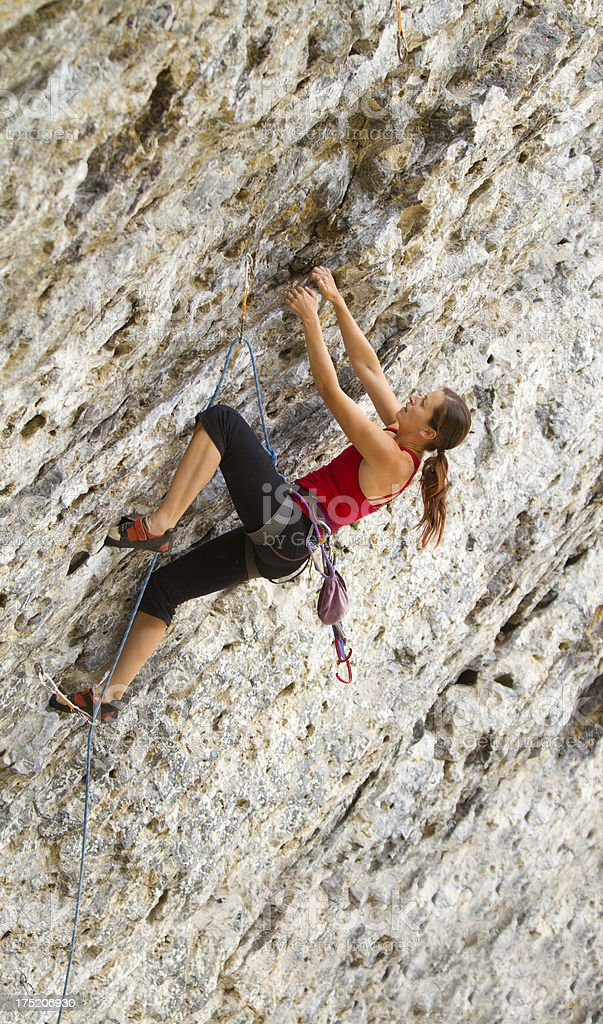 Woman Rock Climbing, Grassi Lakes, Canada royalty-free stock photo
