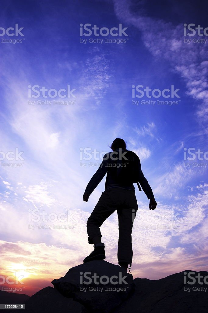 woman rock climbing silhouette royalty-free stock photo