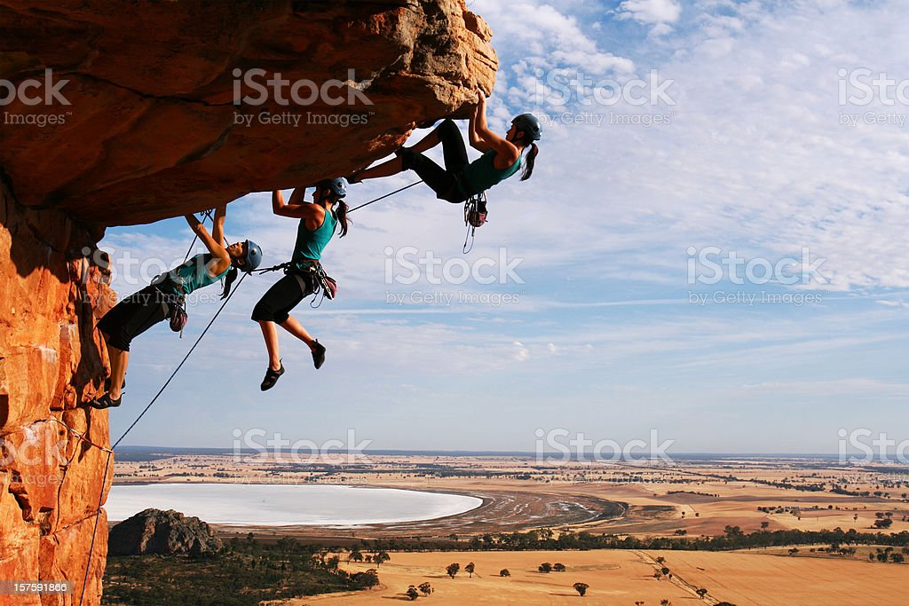 Woman rockclimbing Sequence royalty-free stock photo