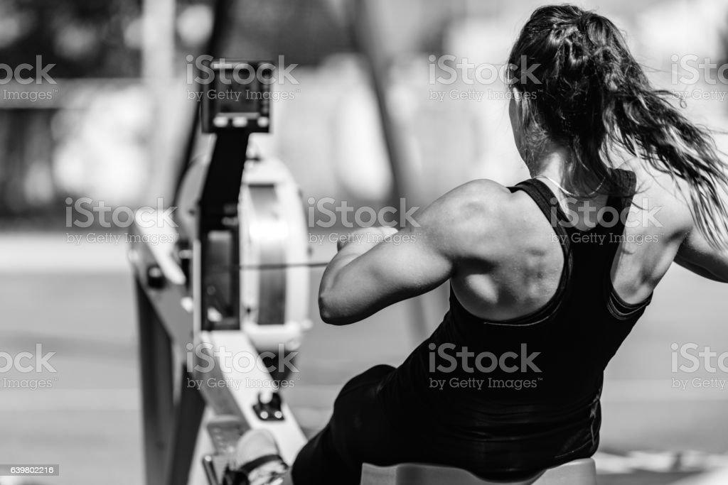 Woman, rowing machine, cross training, black and white stock photo
