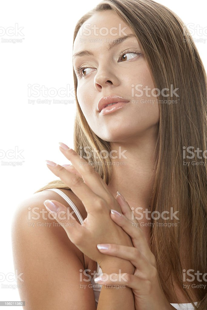 Woman rubbing her hands royalty-free stock photo
