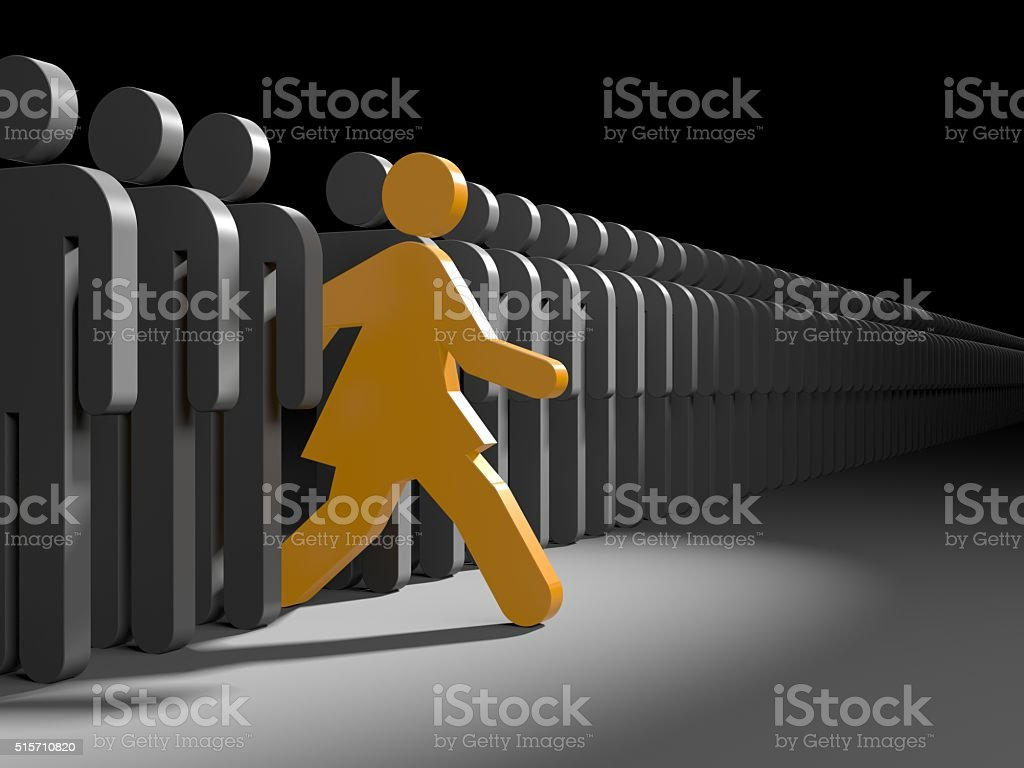 Woman run to new opportunities stock photo