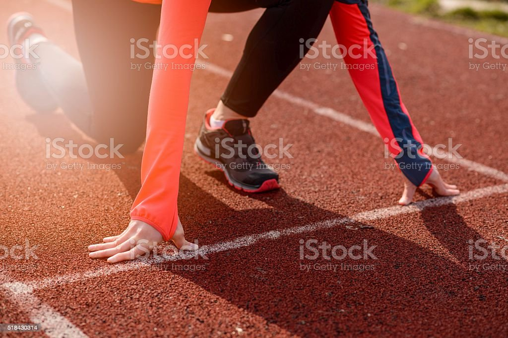 Woman run training outdoors. stock photo