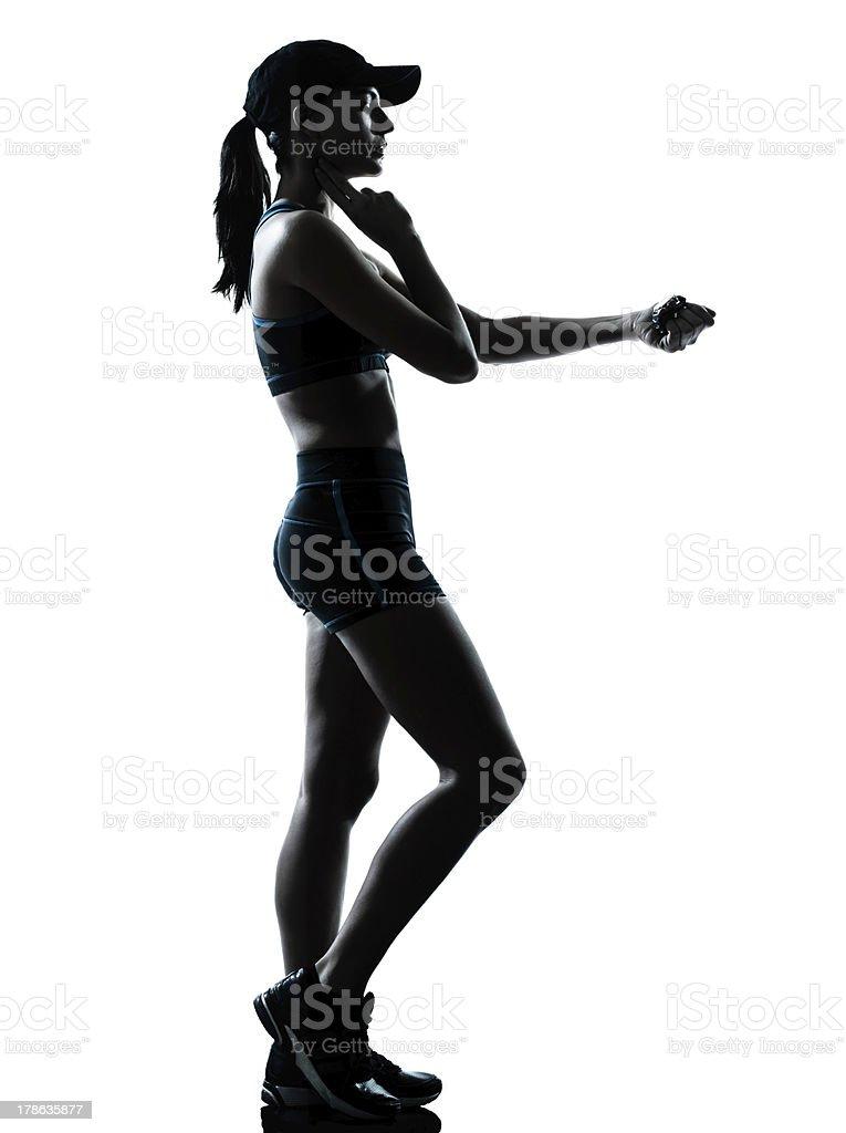 woman runner jogger taking pulse royalty-free stock photo