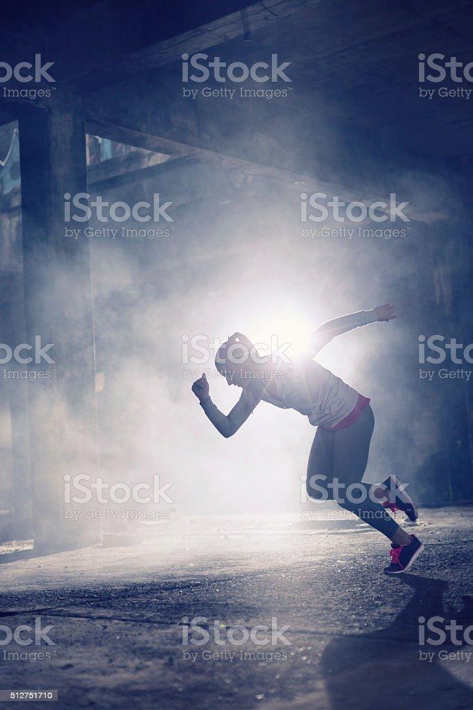 Woman runner stock photo
