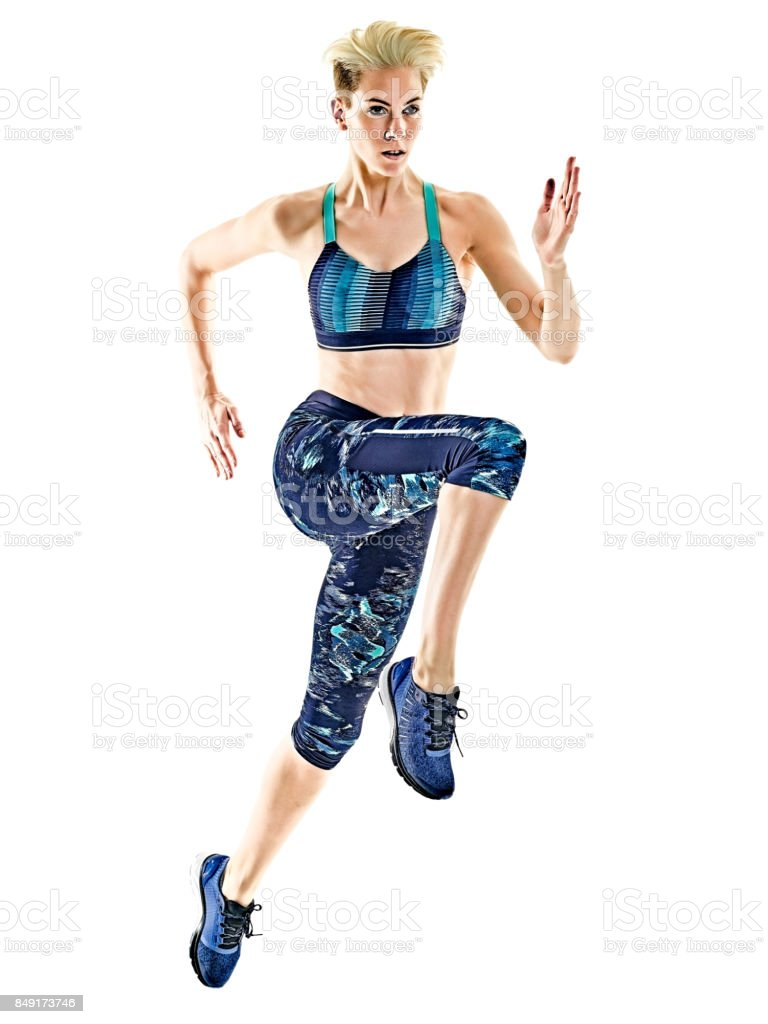 woman runner running jogger jogging isolated white background stock photo