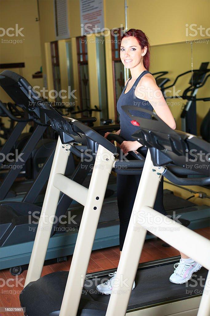 Woman Running Gym royalty-free stock photo