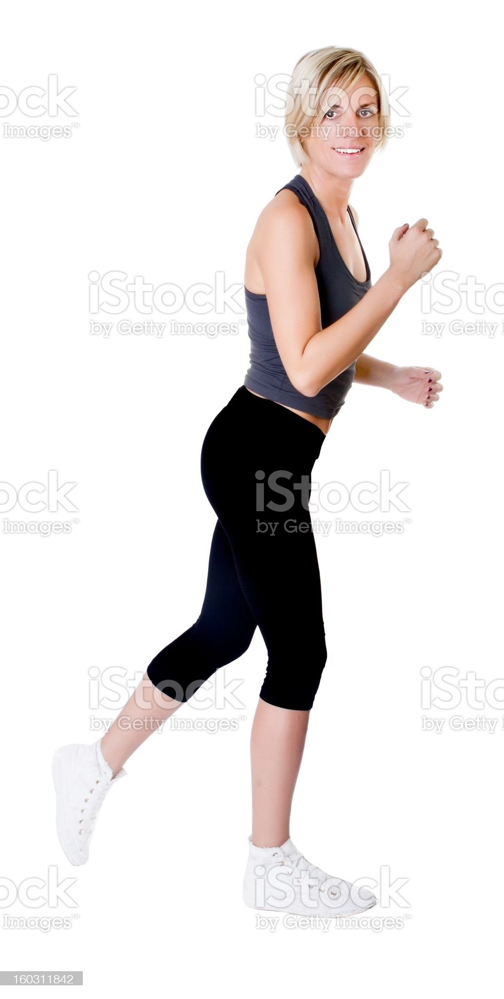 woman running in white background royalty-free stock photo