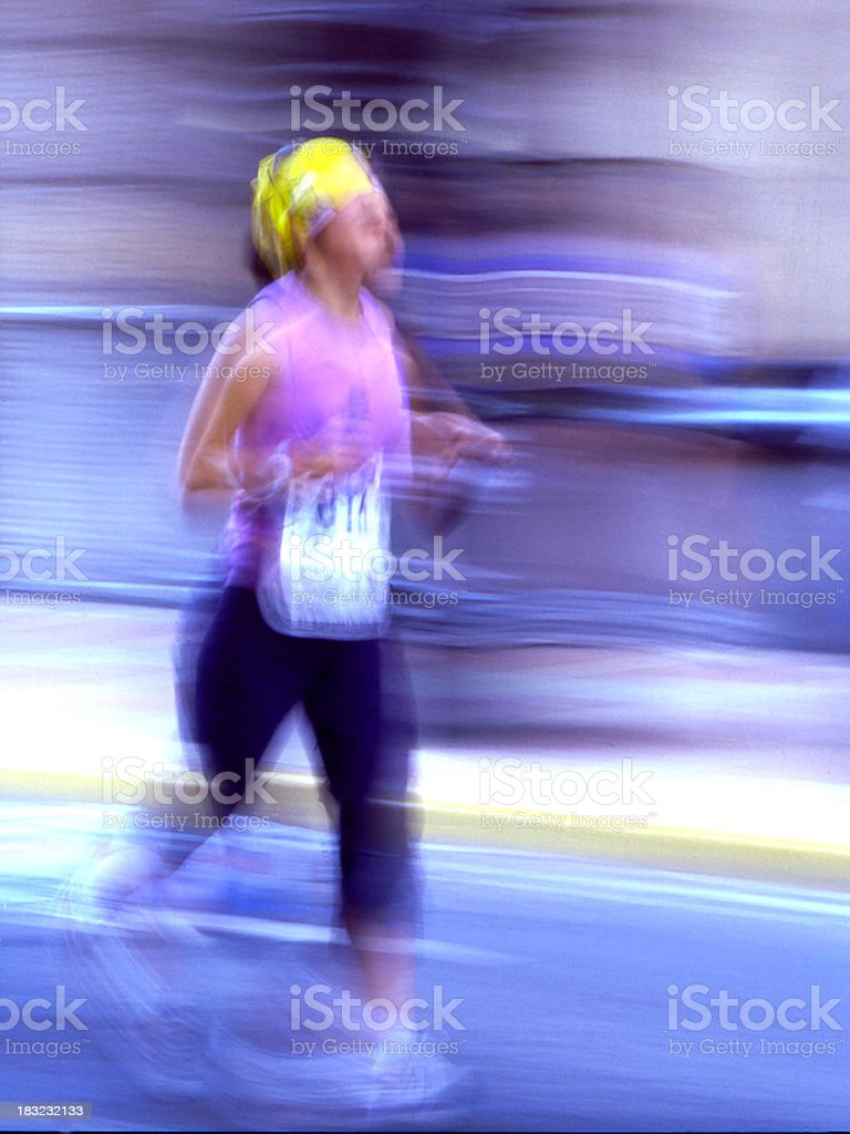 woman running marathon royalty-free stock photo