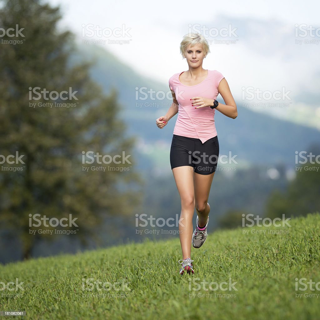 Woman Running Outdoor royalty-free stock photo