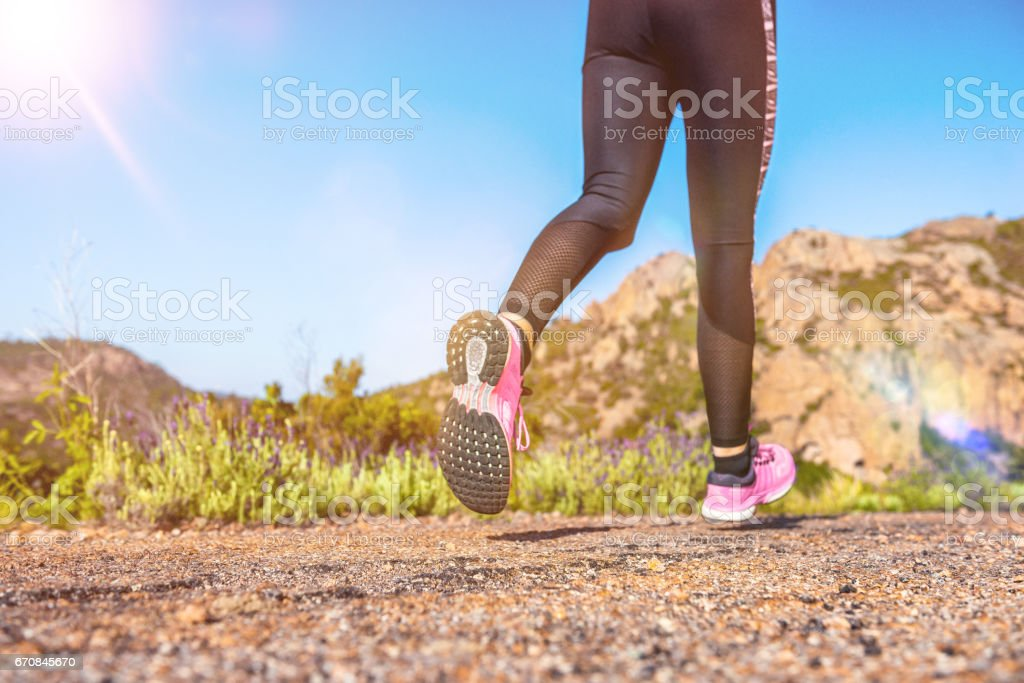 Woman & running & performance stock photo