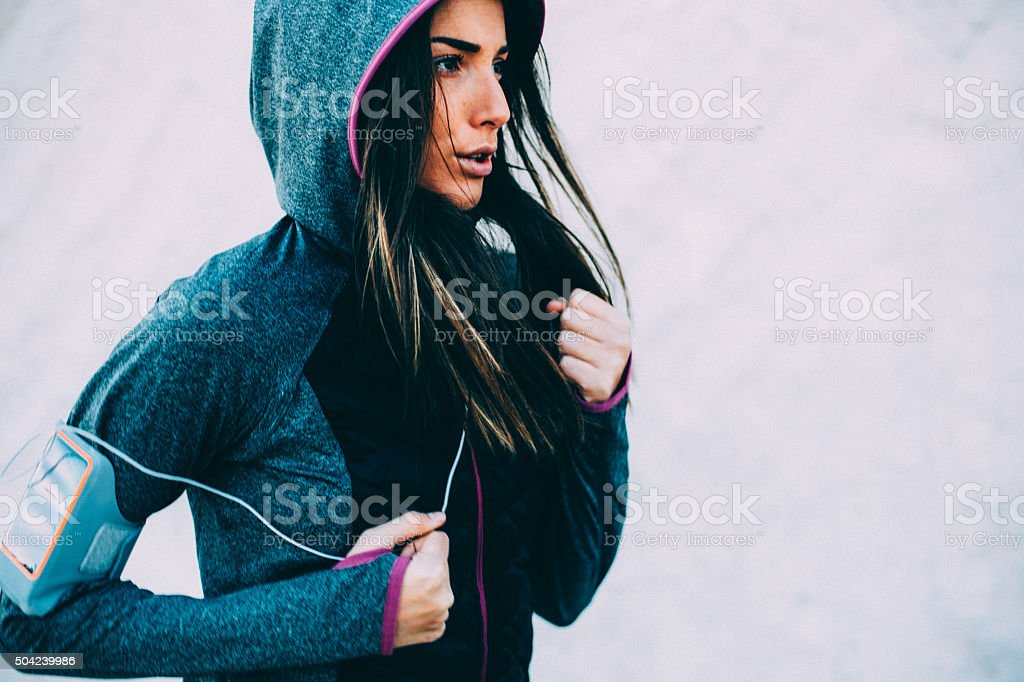 Woman Running stock photo
