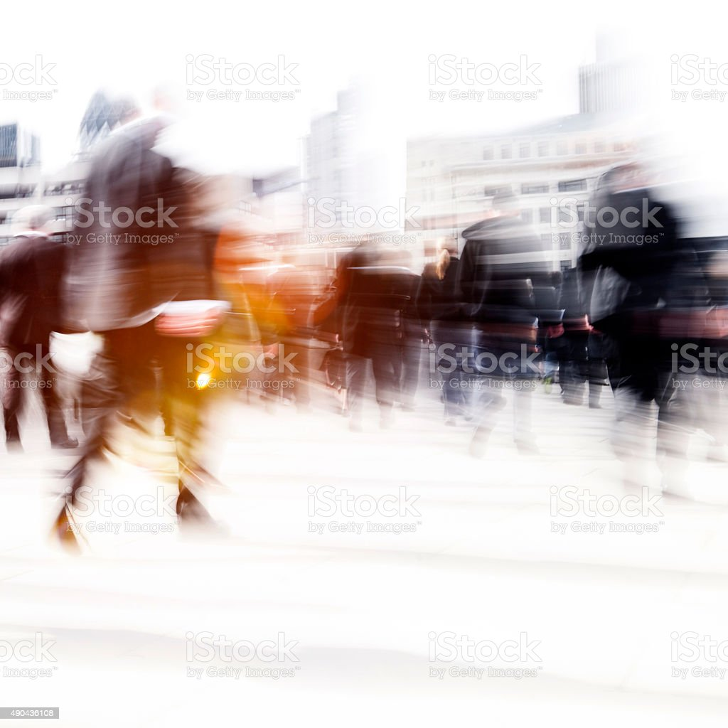 Woman Rushing In a City Walking People Crowd Concept stock photo