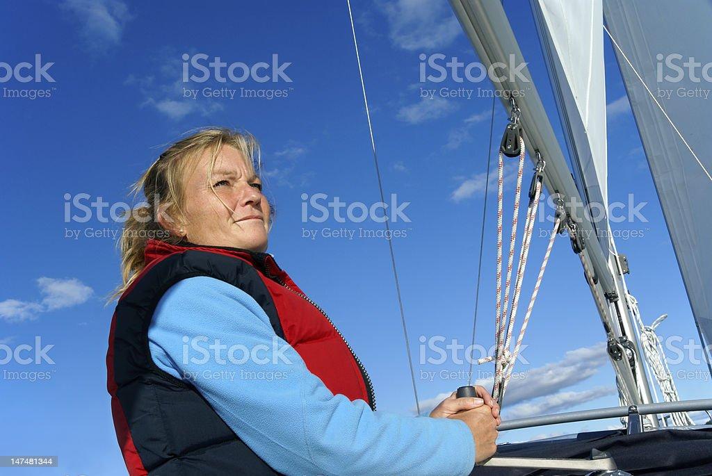 Woman sailing royalty-free stock photo