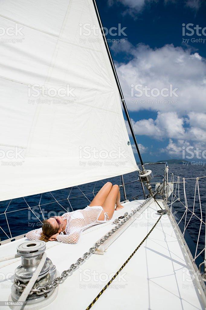 woman sailing through the Caribbean royalty-free stock photo