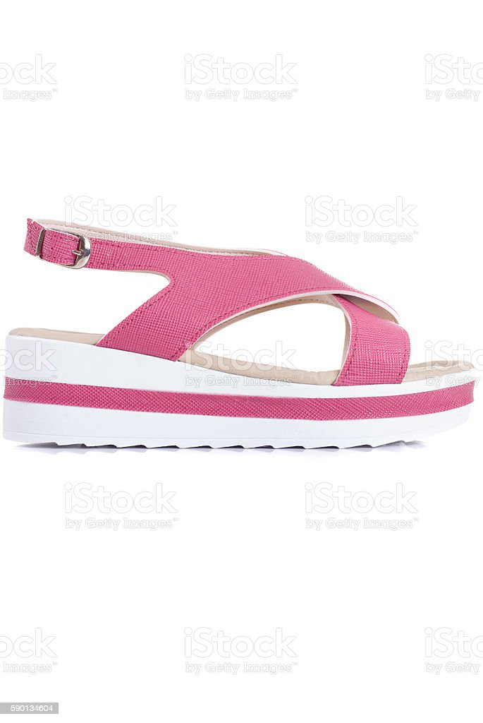 Woman sandals isolated on the white stock photo