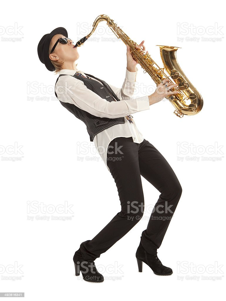 Woman saxophonist stock photo