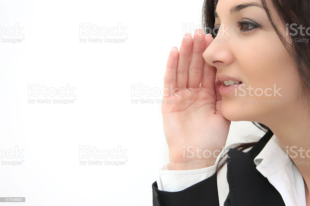 woman saying gossips stock photo