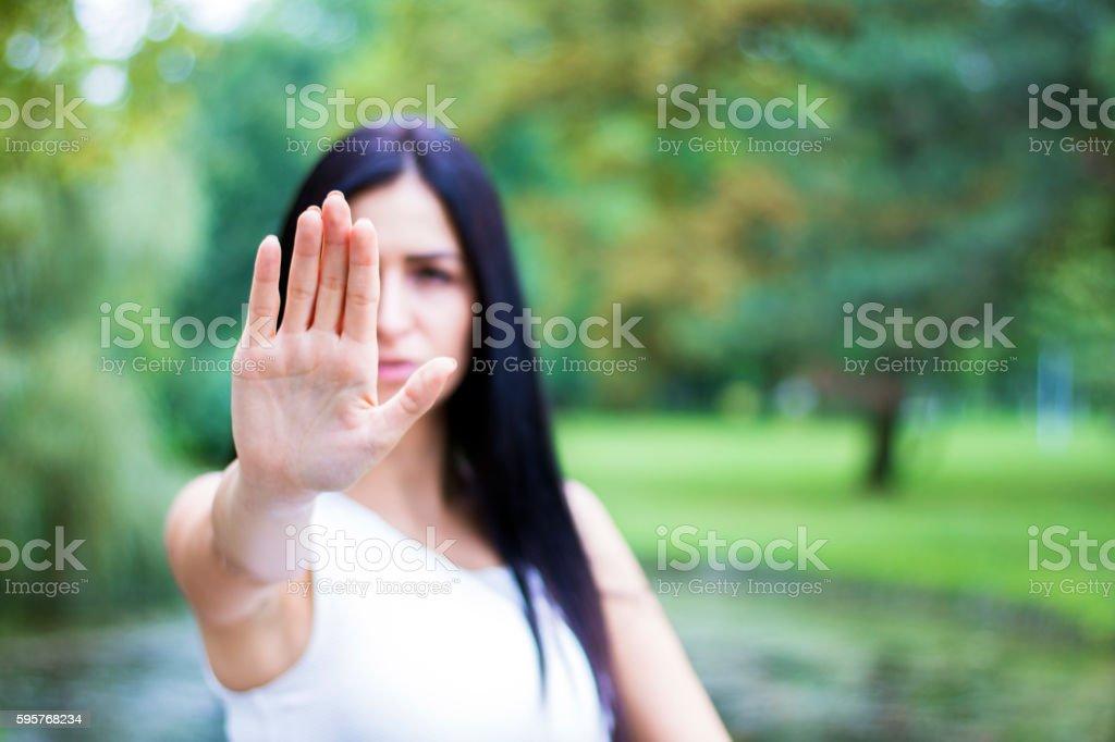 woman says stop stock photo