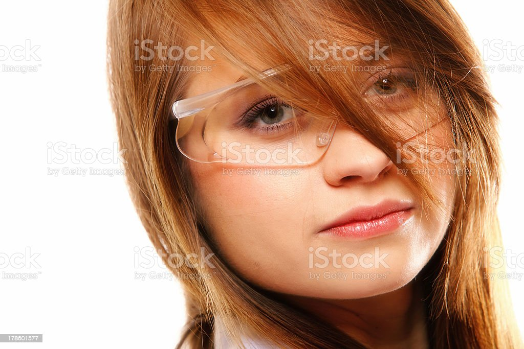 Woman scientist close up portrait, isolated royalty-free stock photo