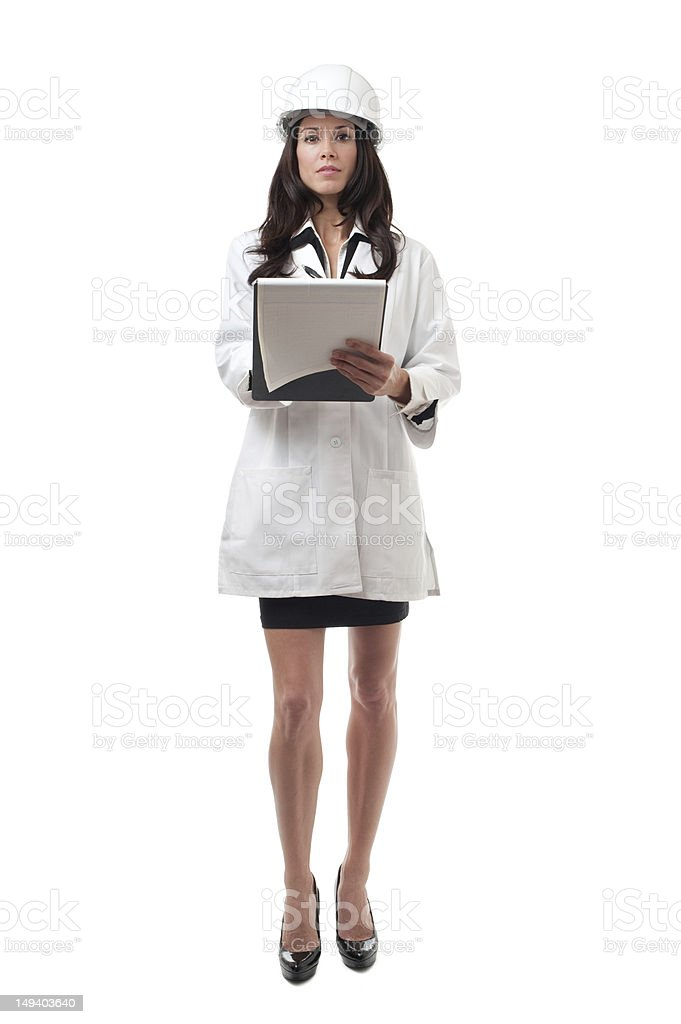 Woman Scientist Engineer with Clipboard Isolated on White Background royalty-free stock photo